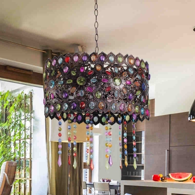 Vintage Bronze Pendant Lighting with Drum Shape Single Light Metal Hanging Lamp with Colorful Crystal