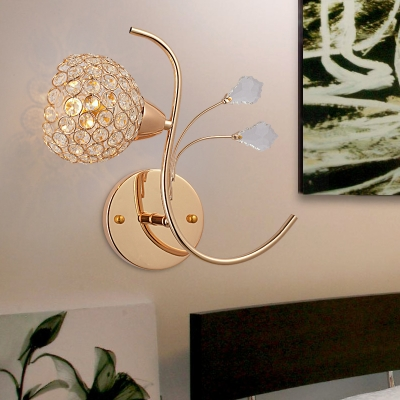 Vintage Style Floral Wall Light Fixture Single Light Clear Crystal Sconce Lighting, H12
