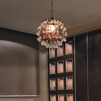 1 Light Orb Chandelier Contemporary Clear Crystal Pendant Lights with 18