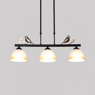 3 Lights Bowl Island Lighting Industrial Glass Light Fixtures with Rod and Bird Decoration in Black