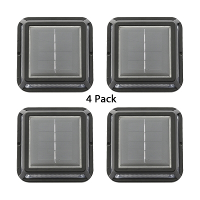 4 Pcs Solar Powered Ground Light 5W 12LED Waterproof Landscape Lighting in Black with Dusk to Dawn Sensor for Lawn
