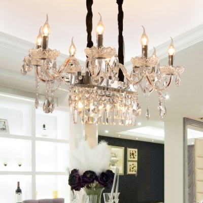 Living Room Candle Hanging Pendant Clear Crystal Vintage Chrome/Gold/Brown Chandelier