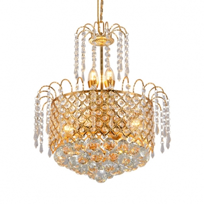 6 Lights Drum Light Fixture with Adjustable Cord Vintage Clear Crystal Hanging Chandelier in Gold