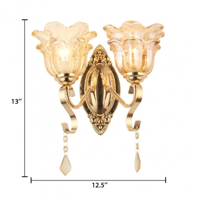 Bedroom Floral Shade Sconce Lighting Clear Glass Antique Style Wall Light with Clear Crystal Decoration