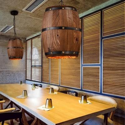 Bronze Cask Suspended Pendant Lamps Length Adjustable 1 Light Industrial Wood Hanging Lighting for Dining Room