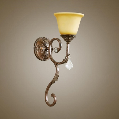 Classic Beige Wall Light with Bowl and Clear Crystal 1 Light Metal Sconce Light
