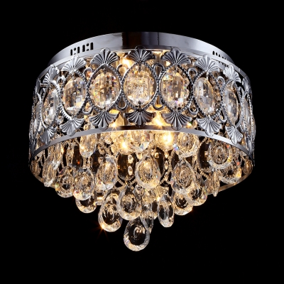Clear Crystal Living Room Ceiling Light 4 Lights Vintage Style Flush Mount Lighting in Nickle, 12