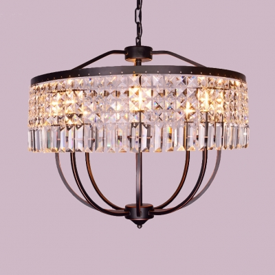 Clear Crystal Pendant Lighting with Drum Shade Multi Light Modernism Suspension Light in Bronze