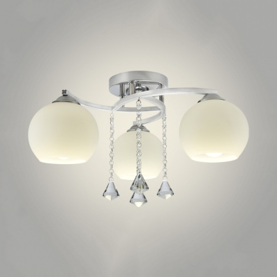 Contemporary Globe Semi-Flush Light 3/5 Lights Acrylic Ceiling Mount Light with Clear Crystal in White