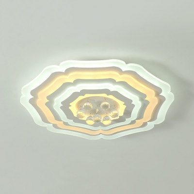Contemporary White LED Flush Ceiling Light with Flower and Clear Crystal Acrylic Flush Light