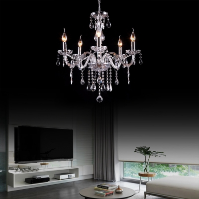 Modern Candle Hanging Chandelier 3/4/5/6 Lights Clear Crystal Height Adjustable Light Fixture in Polished Chrome