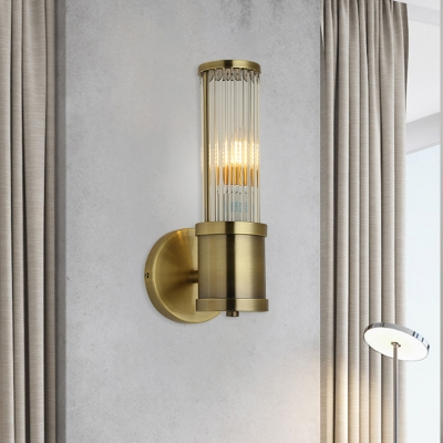 Modern Cylinder Wall Light Single Light Metal and Clear Crystal Sconce Light in Brass