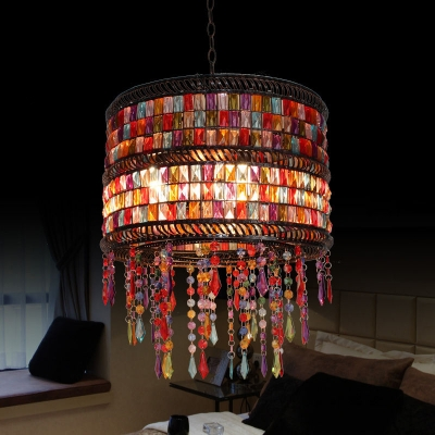 Multi Color Drum Pendant Light Single Light Antique Crystal Hanging Light for Dinging Room