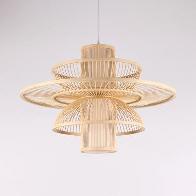Multi Tiers Ceiling Pendant Light Living Room 1 Light Modern Handmade Bamboo Hanging Light