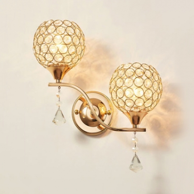 Orb Bedroom Wall Mounted Light Clear Crystal 2-Light Contemporary Sconce Lighting in Silver/Gold