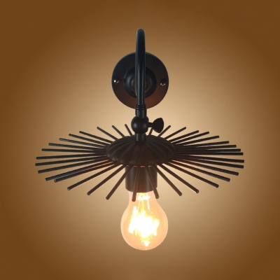 Round Kitchen Restaurant Wall Sconce Metal Single Light Antique Sconce Light in Black