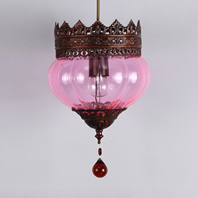 Vintage Light Fixture with Melon Shade and Crystal Glass Hanging Light for Living Room