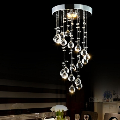 1 Light Spiral Chandelier Contemporary Clear Crystal Flush Mount Light in Chrome