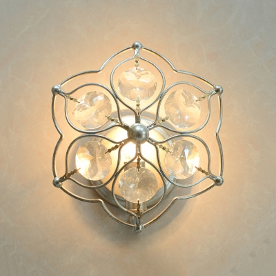 Petal Dining Room Wall Sconce Light Clear Crystal1 Light Modern Wall Lamp in Brass