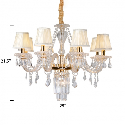 Beige/Ivory Tapered Pendant Light with Adjustable Cord 8 Lights Traditional Clear Crystal for Dining Room