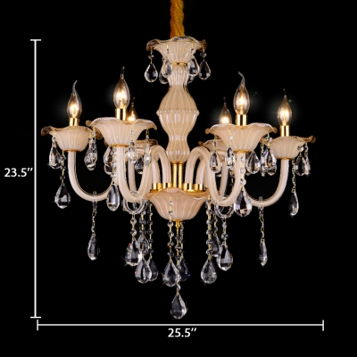 Candle Foyer Hanging Chandelier Clear Crystal 6 Lights Antique Chandelier with Adjustable Cord in Beige