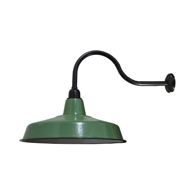 Industrial Barn Sconce Light Single Light Metal Wall Light in Green for Kitchen