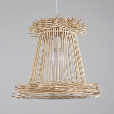 Hand Knitted Tapered Drop Light for Farmhouse Restaurant Rustic Style 1-Light Pendant Lamp in Beige