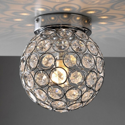 Ball Shade Bedroom Flush Mount Light Metal 1-Light Contemporary Ceiling Lighting in Chrome with Clear Crystal, H9
