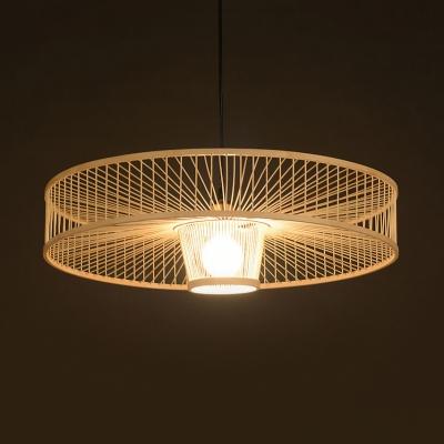Beige Drum Pendant Lighting Single Light Asian Handmade Bamboo