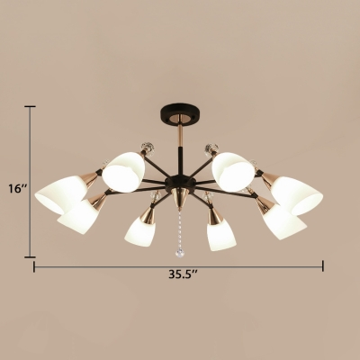 Bowl Living Room Hanging Pendant Modern Chandelier with Clear Crystal and White Glass Shade