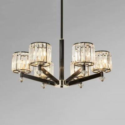 Classic Drum Pendant Lights Metal 3/6 Lights Black Chandelier with Adjustable Stem and Clear Crystal for Bedroom