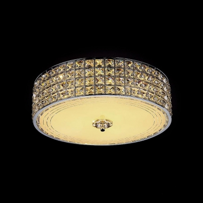 Clear Crystal Drum Flushmount Lighting LED Antique Style Ceiling Light, Third Gear
