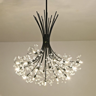 Clear Crystal Petal Chandelier 13/19 Lights Classic Light Fixture with 12