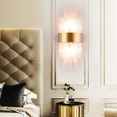 Clear Pipe Crystal Sconce 2 Lights Modern Metal Wall Lamp in Gold/Brushed Brass for Bedroom