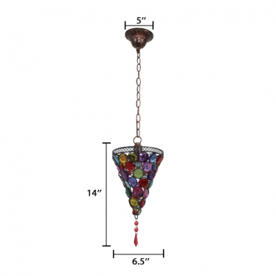 Colorful Crystal Cone Pendant Light with 18