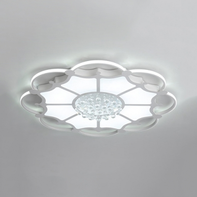 Contemporary Round Light Fixture with Clear Crystal Acrylic LED Flush Mount Lighting in White