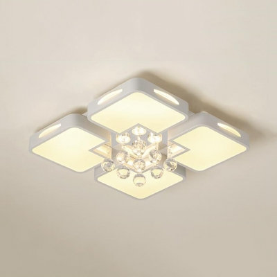 Contemporary Square Ceiling Flush Mount Light Acrylic White Ceiling
