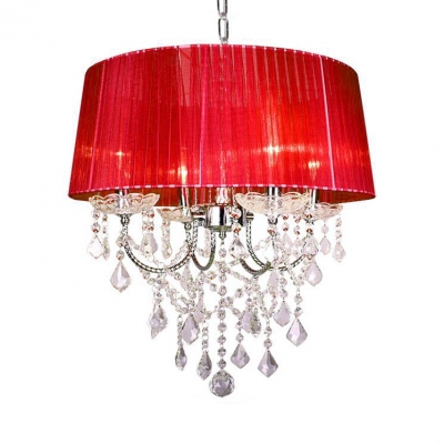 Drum Shape Chandelier with Clear Crystal 4 Lights Modern Fabric Pendant Lighting Fixture for Bedroom