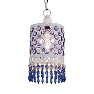 Lantern/Cylinder Ceiling Light with Crystal 1 Light Traditional Hanging Lamp in White/Blue for Living Room