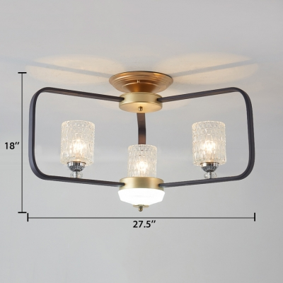 Metal Rectangle Ceiling Fixture Contemporary Semi-Flush Light with Clear Crystal in White