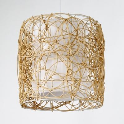 Pastoral Drum Pendant Lighting Rattan 1 Light Beige Hanging Lamp for Corridor