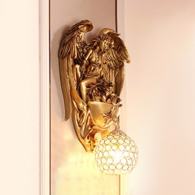 Rustic Gold/White Sconce with Globe 1 Light Clear Crystal Wall Light for Living Room
