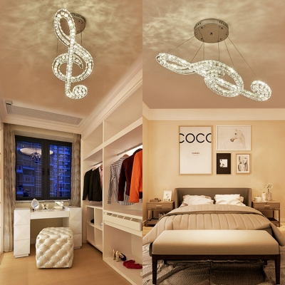 Silver Musical Note Pendant Lamp Modern Hanging Chandelier with Clear Crystal for Bedroom