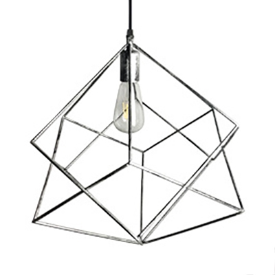Single Light Geometric Pendant Light Antique Length Adjustable Metal Ceiling Light for Kitchen in Silver/Rust