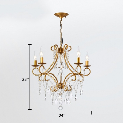 Traditional Candle Pendant Lighting Metal 5/6/8 Lights Black/Gold Chandelier with Clear Crystal and 19.5