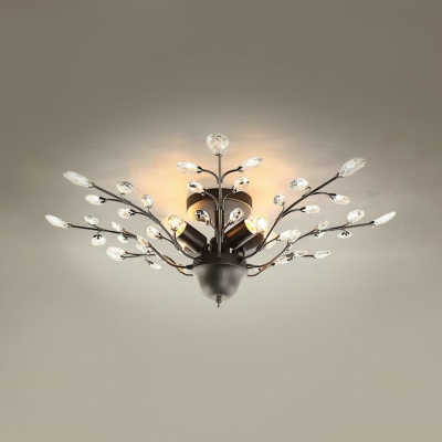 4 Lights Semi Flush Mount Lighting With Clear Crystal Decoration