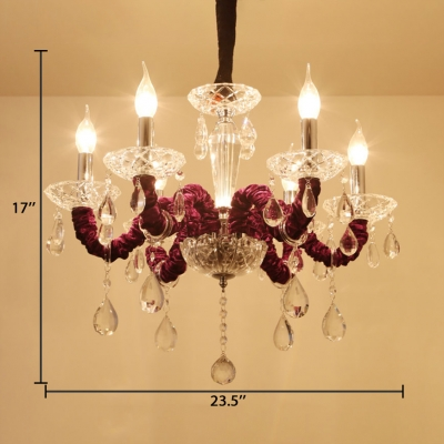 Dining Room Candle Chandelier Clear Crystal 6 Lights Traditional Purple Hanging Chandelier