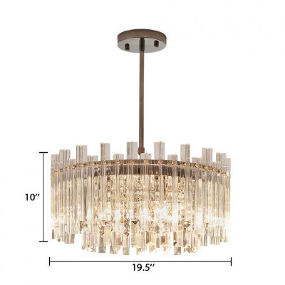 Drum/Rectangle Living Room Chandelier Clear Crystal 5 Lights Modern Chandelier Light