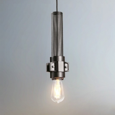 Black Cylinder Hanging Lamp 1 Light Vintage Overhead Light with Adjustable Cord and Metal Mesh for Living Room