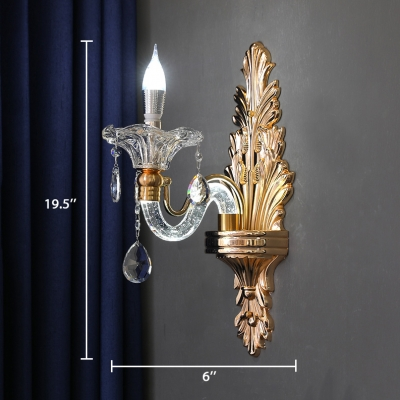 Candle Wall Mounted Lighting for Bedroom 1/2 Lights Antique Style Glass Sconce Light in Brass with Clear Crystal